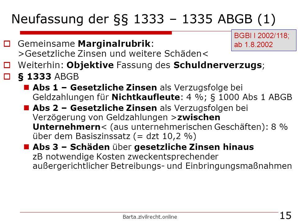 Barta.zivilrecht.online 15 Neufassung der §§ 1333 – 1335 ABGB (1) Gemeinsame Marginalrubrik: >Gesetzliche Zinsen und weitere Schäden< Weiterhin: Objek