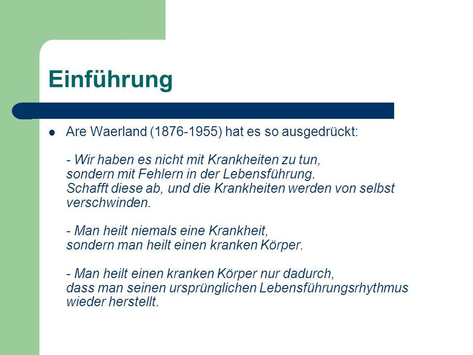 Einführung Are Waerland (1876-1955) hat es so ausgedrückt: - Wir haben es nicht mit Krankheiten zu tun, sondern mit Fehlern in der Lebensführung. Scha