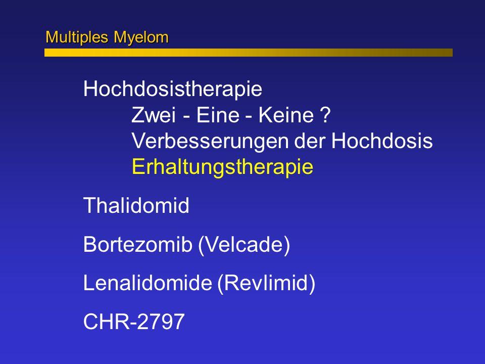 Multiples Myelom Hochdosistherapie Zwei - Eine - Keine ? Verbesserungen der Hochdosis Erhaltungstherapie Thalidomid Bortezomib (Velcade) Lenalidomide