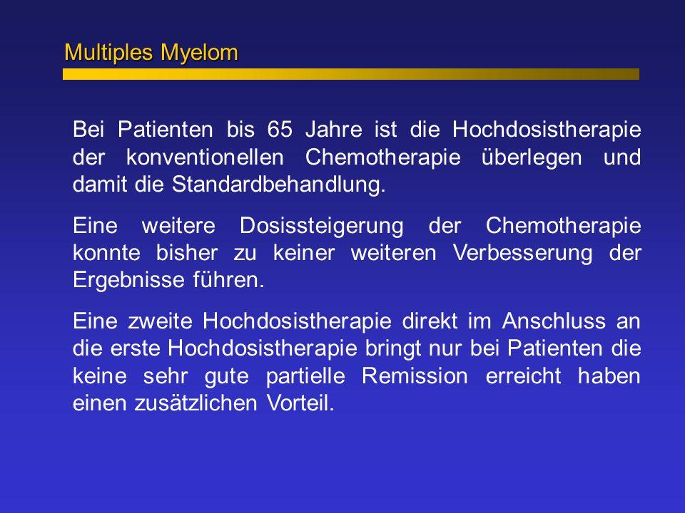 Multiples Myelom Bei Patienten bis 65 Jahre ist die Hochdosistherapie der konventionellen Chemotherapie überlegen und damit die Standardbehandlung. Ei