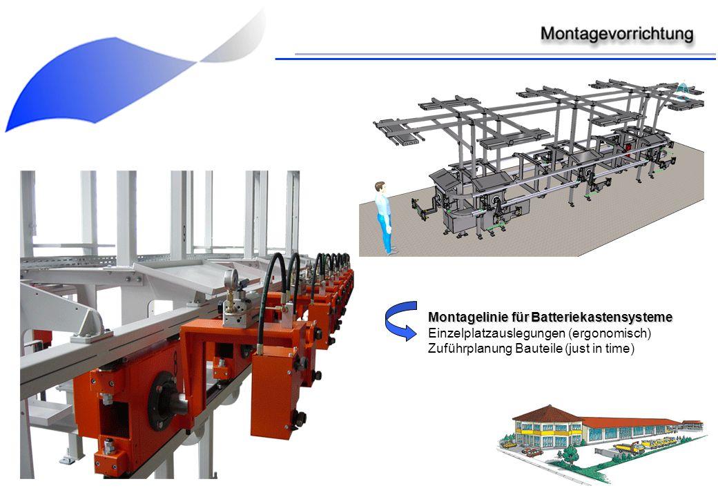 Montagelinie für Batteriekastensysteme Einzelplatzauslegungen (ergonomisch) Zuführplanung Bauteile (just in time)