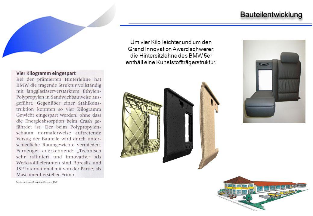 Um vier Kilo leichter und um den Grand Innovation Award schwerer: die Hintersitzlehne des BMW 5er enthält eine Kunststoffträgerstruktur. Quelle: Autom