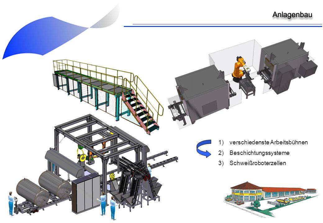 1)verschiedenste Arbeitsbühnen 2)Beschichtungssysteme 3)Schweißroboterzellen
