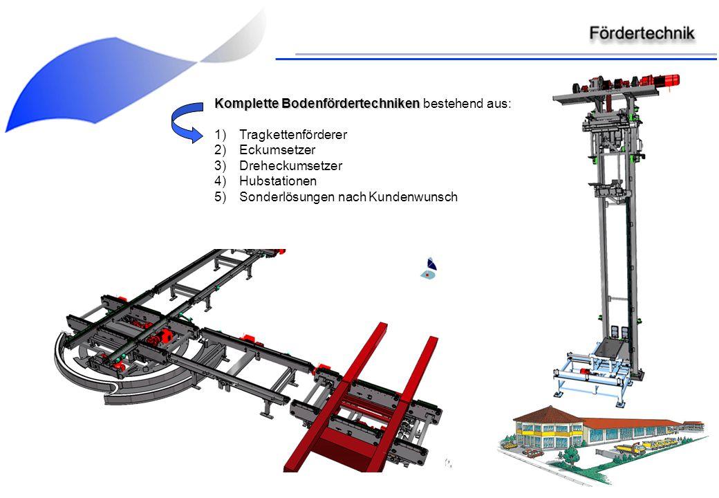 Komplette Bodenfördertechniken Komplette Bodenfördertechniken bestehend aus: 1)Tragkettenförderer 2)Eckumsetzer 3)Dreheckumsetzer 4)Hubstationen 5)Son