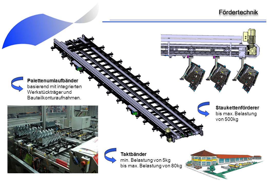 Palettenumlaufbänder basierend mit integrierten Werkstückträger und Bauteilkonturaufnahmen. Taktbänder min. Belastung von 5kg bis max. Belastung von 8