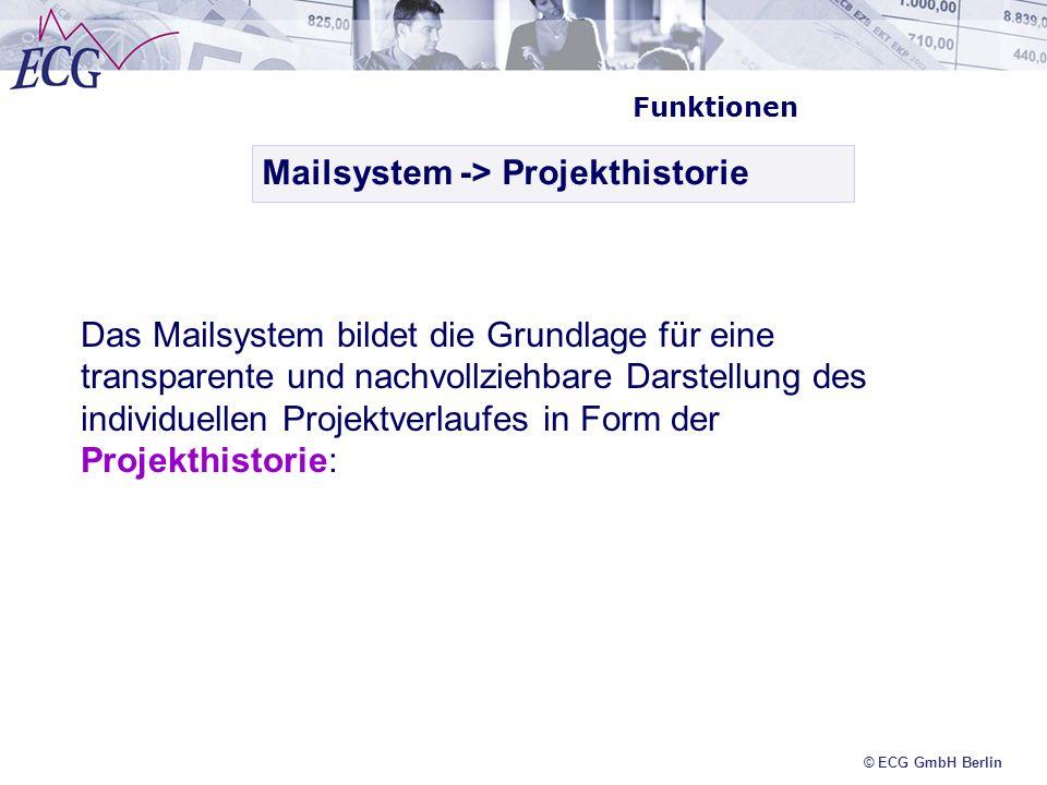 © ECG GmbH Berlin Funktionen Mailsystem -> Projekthistorie Das Mailsystem bildet die Grundlage für eine transparente und nachvollziehbare Darstellung