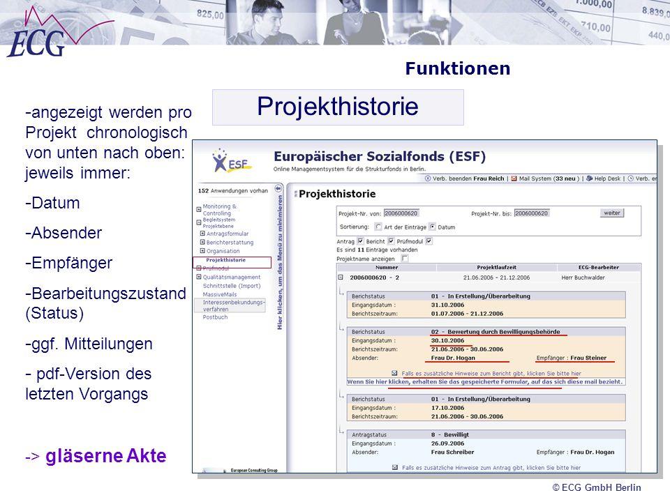 © ECG GmbH Berlin Funktionen Projekthistorie - angezeigt werden pro Projekt chronologisch von unten nach oben: jeweils immer: - Datum - Absender - Emp
