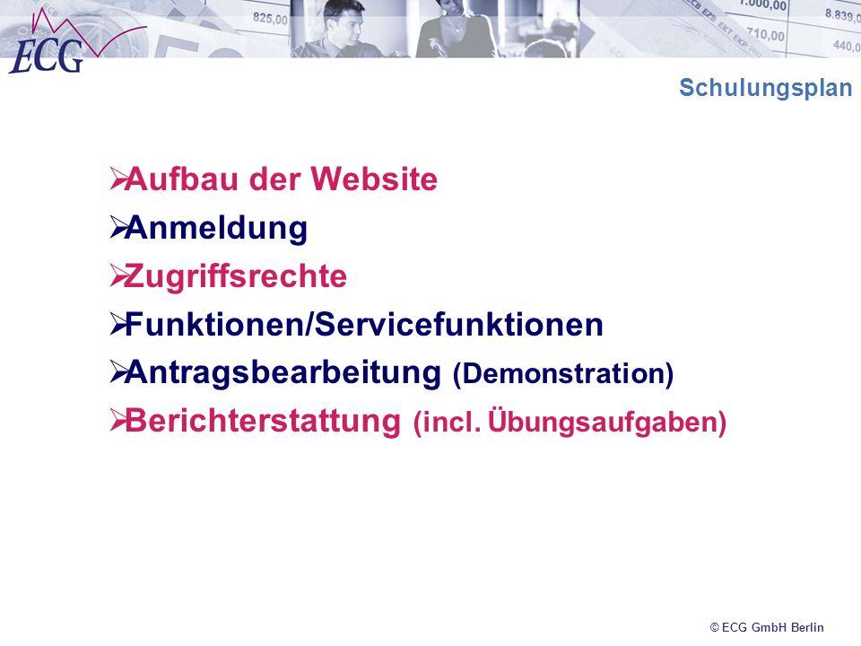 © ECG GmbH Berlin Schulungsplan Aufbau der Website Anmeldung Zugriffsrechte Funktionen/Servicefunktionen Antragsbearbeitung (Demonstration) Berichters