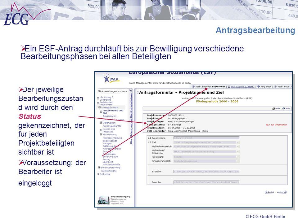 © ECG GmbH Berlin Antragsbearbeitung Ein ESF-Antrag durchläuft bis zur Bewilligung verschiedene Bearbeitungsphasen bei allen Beteiligten Der jeweilige