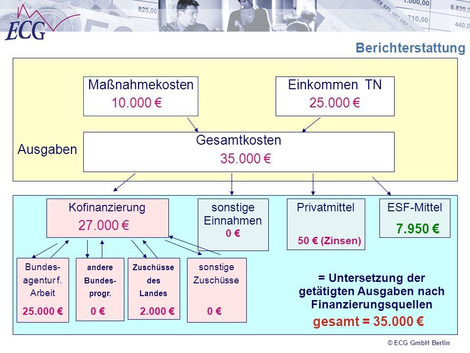 © ECG GmbH Berlin Finanzierung Ausgaben Berichterstattung MaßnahmekostenEinkommen TN Gesamtkosten KofinanzierungESF-Mittel Bundes- agentur f. Arbeit a