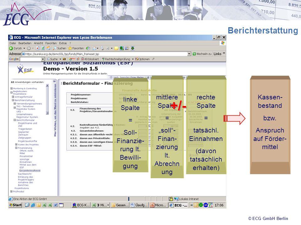 © ECG GmbH Berlin Berichterstattung linke Spalte = Soll- Finanzie- rung lt. Bewilli- gung mittlere Spalte = soll- Finan- zierung lt. Abrechn ung recht
