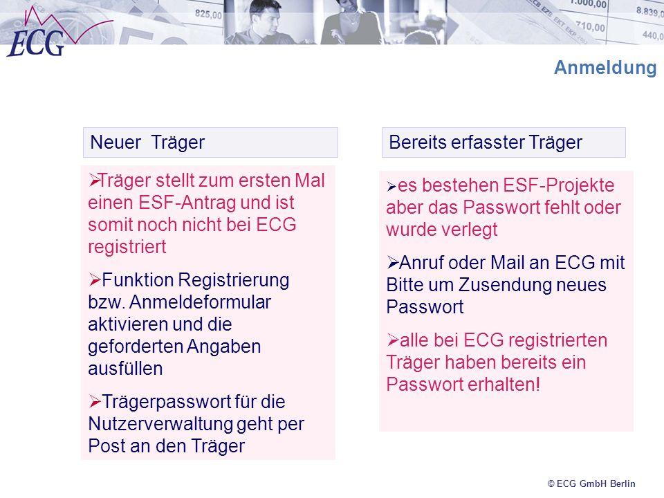 © ECG GmbH Berlin Anmeldung Neuer Träger Bereits erfasster Träger Träger stellt zum ersten Mal einen ESF-Antrag und ist somit noch nicht bei ECG regis