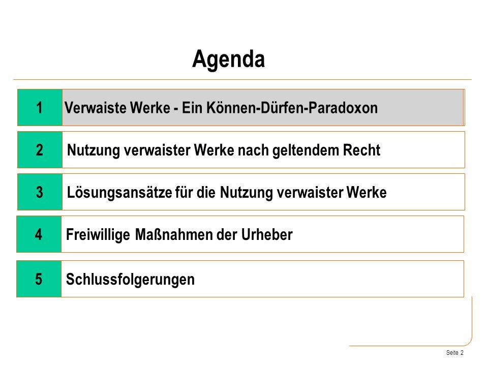 Seite 2 Wandel der Rahmenbedingungen 2Nutzung verwaister Werke nach geltendem Recht 3Lösungsansätze für die Nutzung verwaister Werke 4Freiwillige Maßnahmen der Urheber Verwaiste Werke - Ein Können-Dürfen-Paradoxon Agenda 1 5Schlussfolgerungen