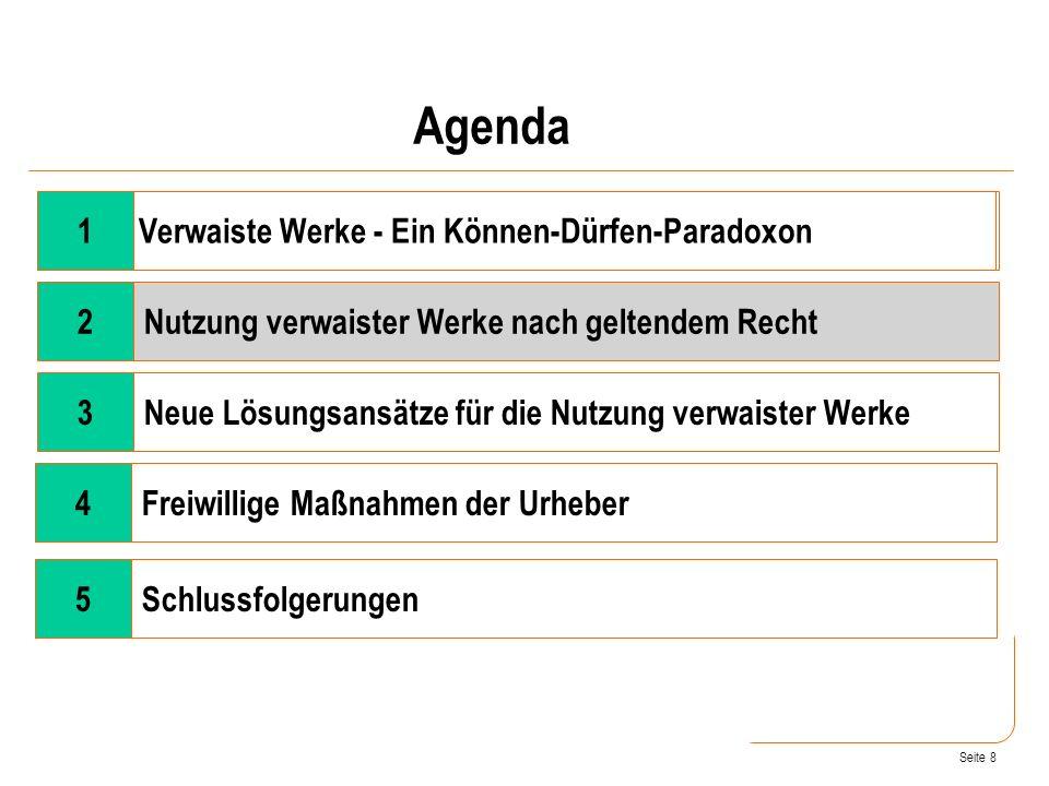 Seite 8 Wandel der Rahmenbedingungen 2Nutzung verwaister Werke nach geltendem Recht 3Neue Lösungsansätze für die Nutzung verwaister Werke 4Freiwillige Maßnahmen der Urheber Verwaiste Werke - Ein Können-Dürfen-Paradoxon Agenda 1 5Schlussfolgerungen