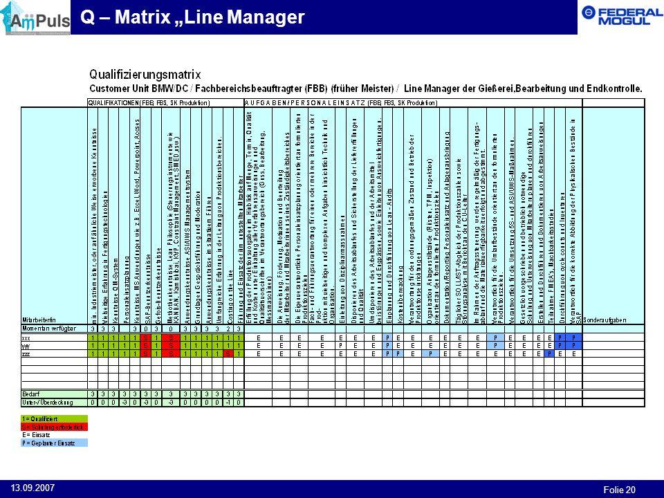 Folie 20 13.09.2007 Q – Matrix Line Manager