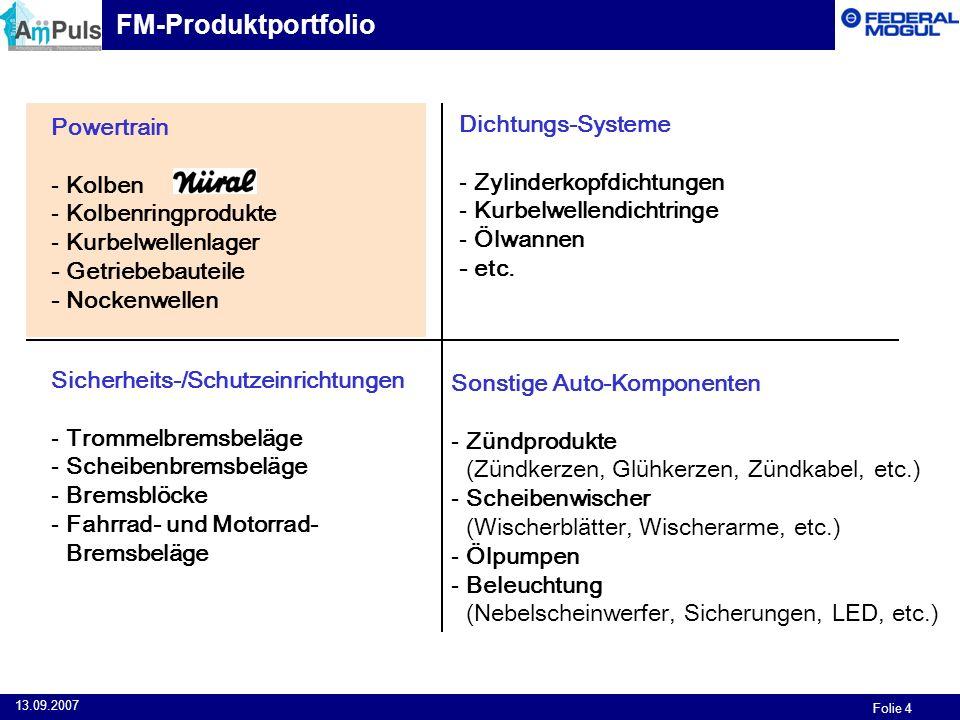 Folie 4 13.09.2007 Powertrain - Kolben - Kolbenringprodukte - Kurbelwellenlager - Getriebebauteile - Nockenwellen Dichtungs-Systeme - Zylinderkopfdich