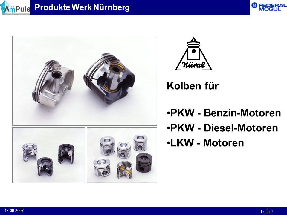 Folie 6 13.09.2007 Kolben für PKW - Benzin-Motoren PKW - Diesel-Motoren LKW - Motoren Produkte Werk Nürnberg