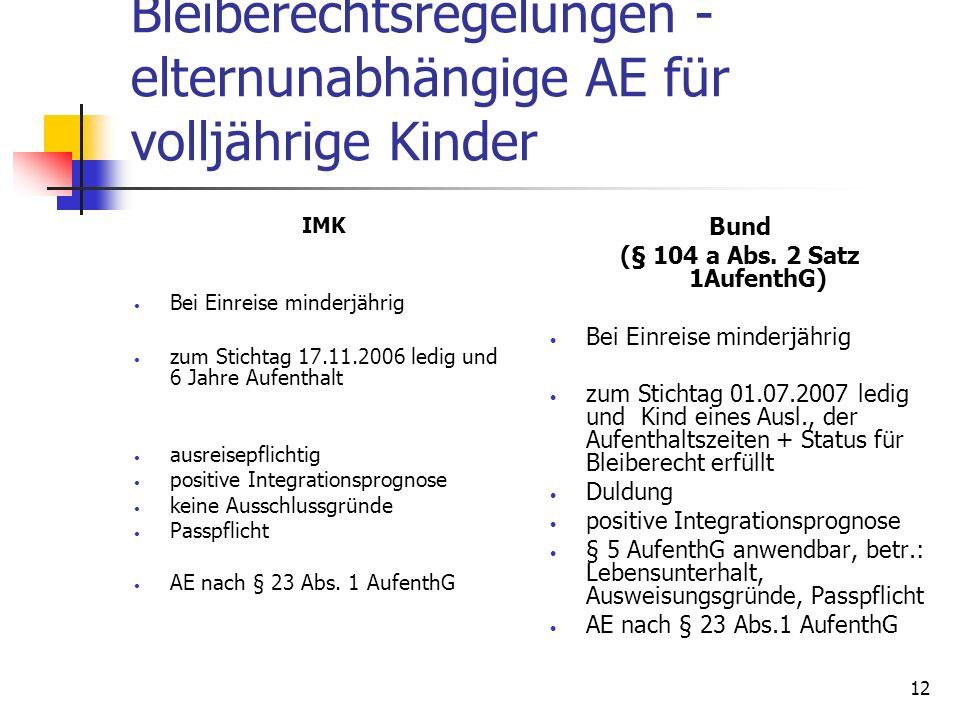 12 Bleiberechtsregelungen - elternunabhängige AE für volljährige Kinder IMK Bei Einreise minderjährig zum Stichtag 17.11.2006 ledig und 6 Jahre Aufent