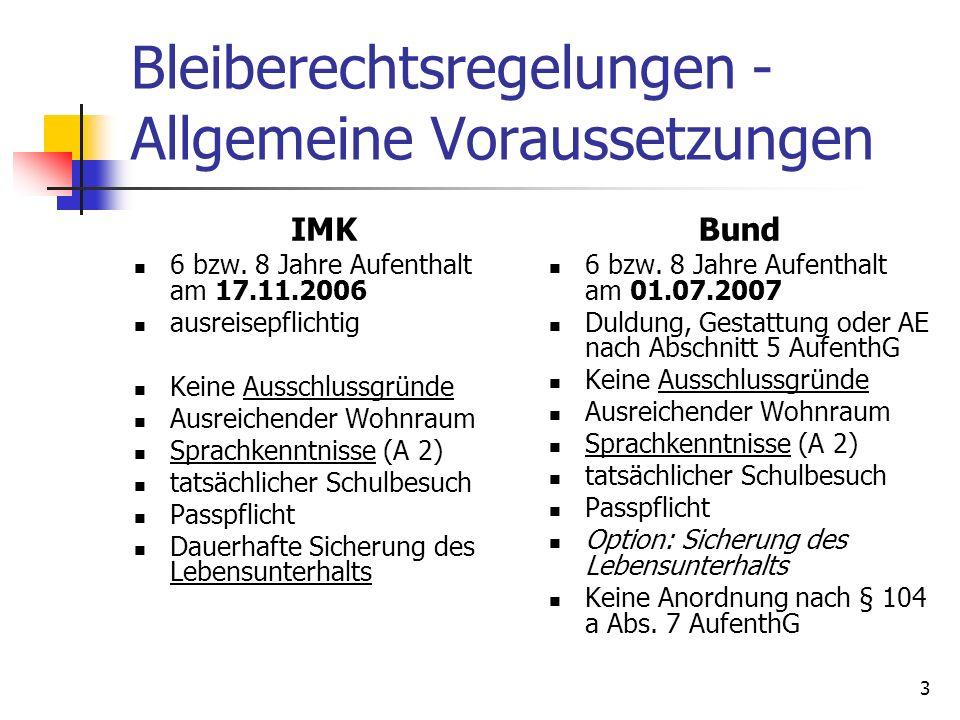 3 Bleiberechtsregelungen - Allgemeine Voraussetzungen IMK 6 bzw. 8 Jahre Aufenthalt am 17.11.2006 ausreisepflichtig Keine Ausschlussgründe Ausreichend