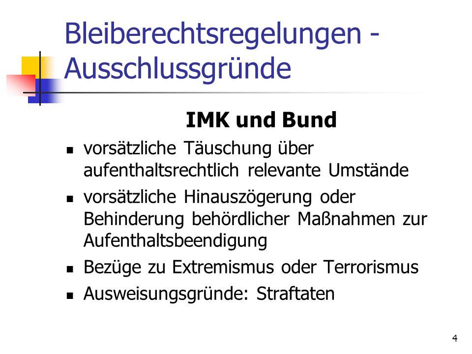 4 Bleiberechtsregelungen - Ausschlussgründe IMK und Bund vorsätzliche Täuschung über aufenthaltsrechtlich relevante Umstände vorsätzliche Hinauszögeru