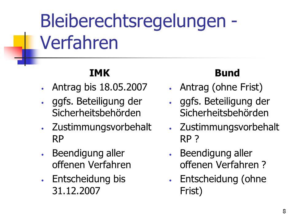 8 Bleiberechtsregelungen - Verfahren IMK Antrag bis 18.05.2007 ggfs. Beteiligung der Sicherheitsbehörden Zustimmungsvorbehalt RP Beendigung aller offe