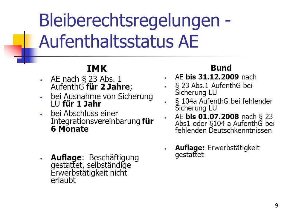 9 Bleiberechtsregelungen - Aufenthaltsstatus AE IMK AE nach § 23 Abs. 1 AufenthG für 2 Jahre; bei Ausnahme von Sicherung LU für 1 Jahr bei Abschluss e