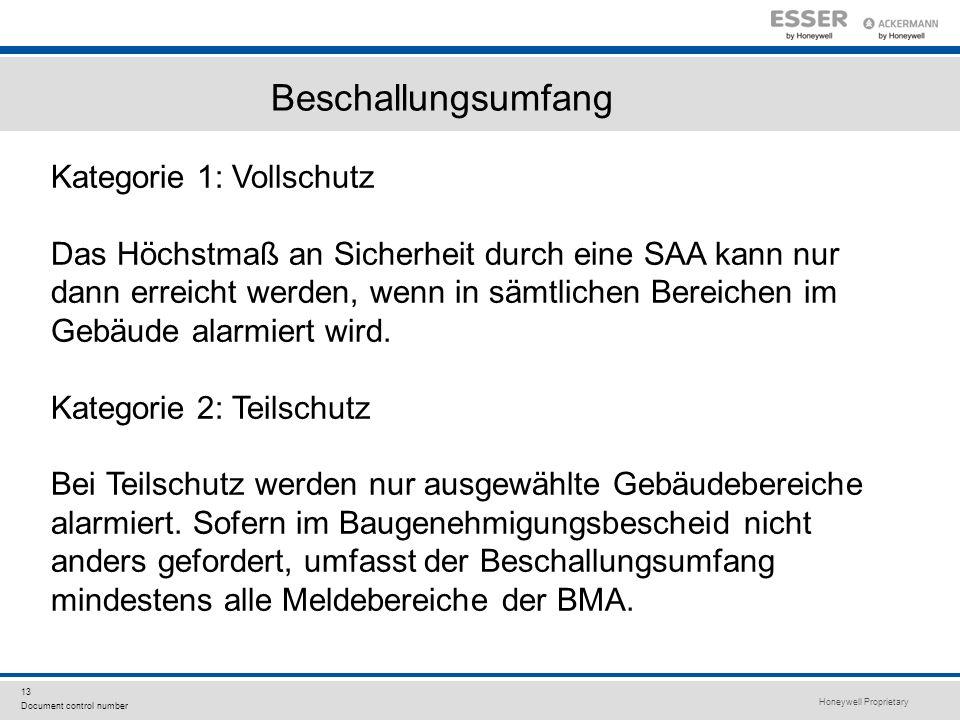 Honeywell Proprietary 13 Document control number Beschallungsumfang Kategorie 1: Vollschutz Das Höchstmaß an Sicherheit durch eine SAA kann nur dann e