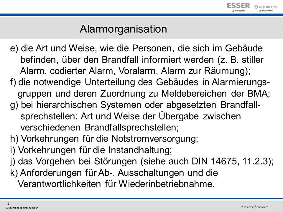 Honeywell Proprietary 15 Document control number e) die Art und Weise, wie die Personen, die sich im Gebäude befinden, über den Brandfall informiert w