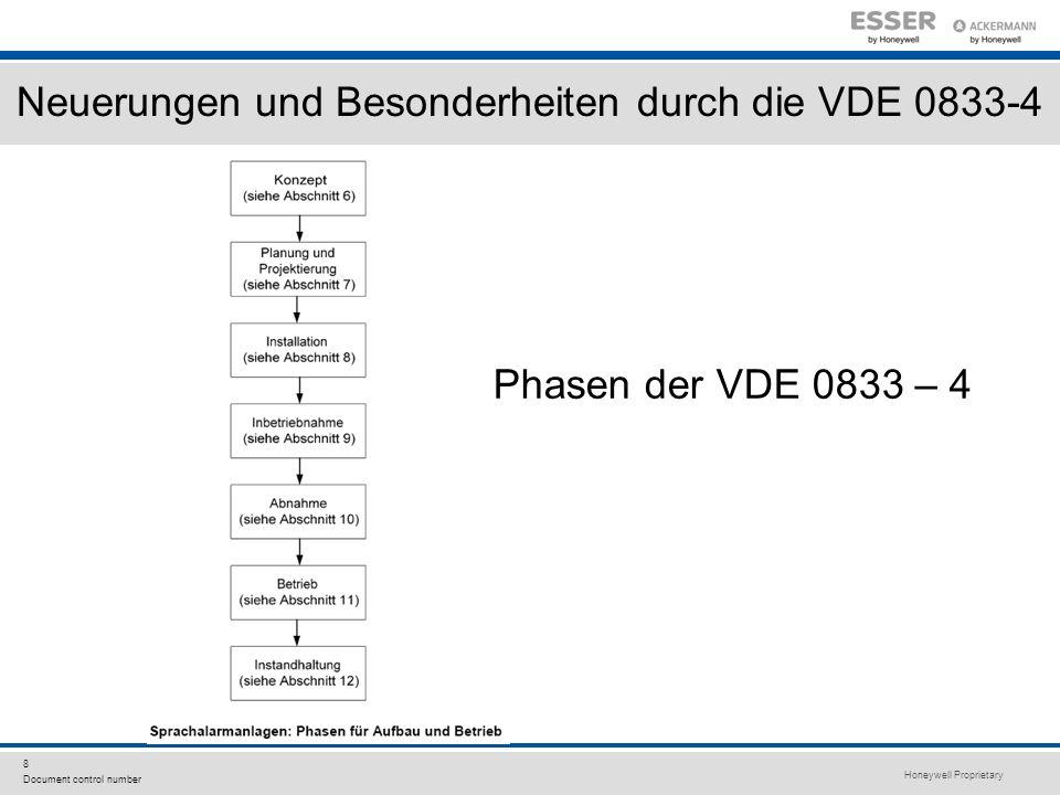 Honeywell Proprietary 8 Document control number Neuerungen und Besonderheiten durch die VDE 0833-4 Phasen der VDE 0833 – 4
