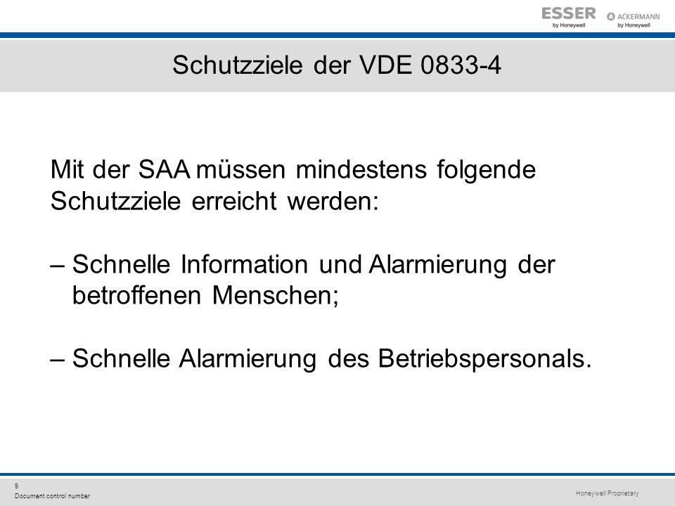Honeywell Proprietary 9 Document control number Schutzziele der VDE 0833-4 Mit der SAA müssen mindestens folgende Schutzziele erreicht werden: – Schne