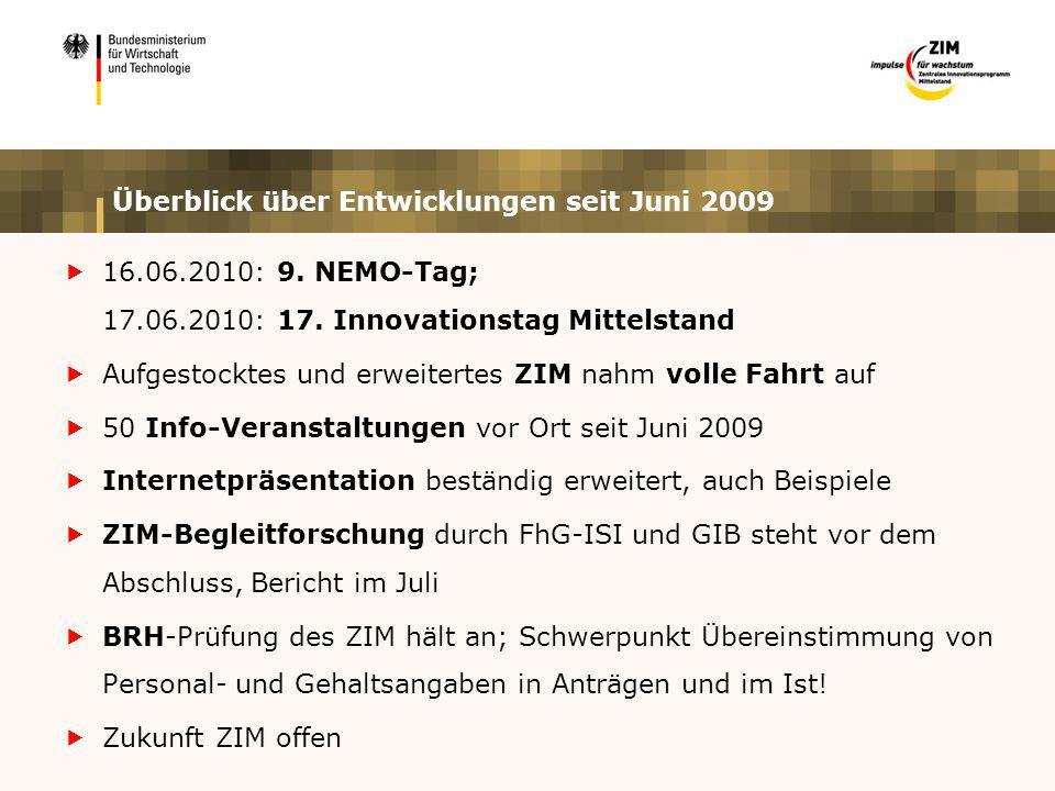 Überblick über Entwicklungen seit Juni 2009 16.06.2010: 9. NEMO-Tag; 17.06.2010: 17. Innovationstag Mittelstand Aufgestocktes und erweitertes ZIM nahm
