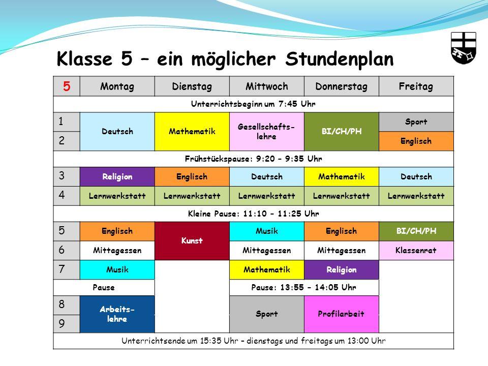 5 MontagDienstagMittwochDonnerstagFreitag Unterrichtsbeginn um 7:45 Uhr 1 DeutschMathematik Gesellschafts- lehre BI/CH/PH Sport 2 Englisch Frühstückspause: 9:20 – 9:35 Uhr 3 ReligionEnglischDeutschMathematikDeutsch 4 Lernwerkstatt Kleine Pause: 11:10 – 11:25 Uhr 5 Englisch Kunst MusikEnglischBI/CH/PH 6 Mittagessen Klassenrat 7 MusikMathematikReligion PausePause: 13:55 – 14:05 Uhr 8 Arbeits- lehre SportProfilarbeit 9 Unterrichtsende um 15:35 Uhr – dienstags und freitags um 13:00 Uhr Klasse 5 – ein möglicher Stundenplan