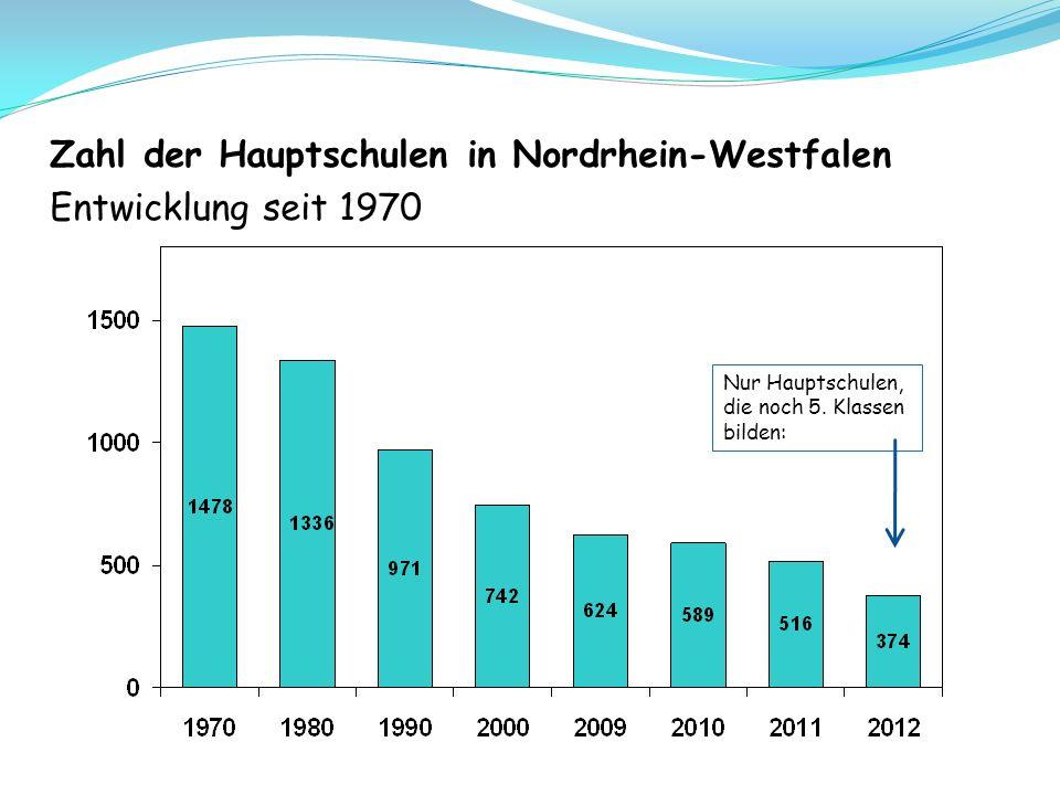 Zahl der Hauptschulen in Nordrhein-Westfalen Entwicklung seit 1970 Nur Hauptschulen, die noch 5.