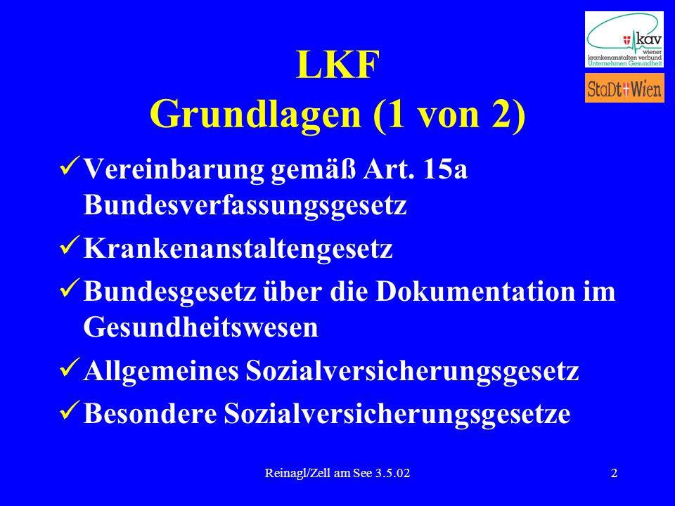Reinagl/Zell am See 3.5.022 LKF Grundlagen (1 von 2) Vereinbarung gemäß Art. 15a Bundesverfassungsgesetz Krankenanstaltengesetz Bundesgesetz über die