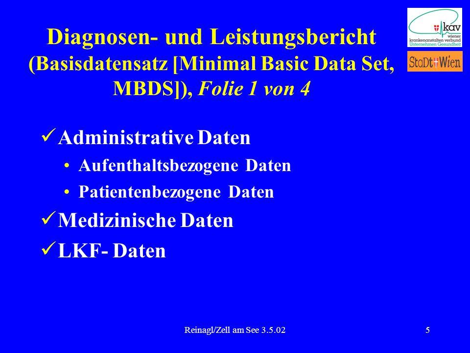 Reinagl/Zell am See 3.5.025 Diagnosen- und Leistungsbericht (Basisdatensatz [Minimal Basic Data Set, MBDS]), Folie 1 von 4 Administrative Daten Aufent