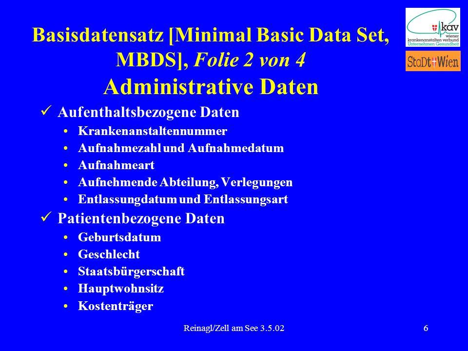 Reinagl/Zell am See 3.5.026 Aufenthaltsbezogene Daten Krankenanstaltennummer Aufnahmezahl und Aufnahmedatum Aufnahmeart Aufnehmende Abteilung, Verlegu