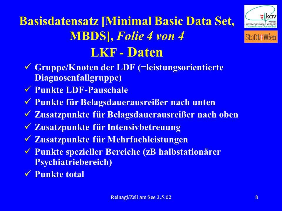 Reinagl/Zell am See 3.5.028 Gruppe/Knoten der LDF (=leistungsorientierte Diagnosenfallgruppe) Punkte LDF-Pauschale Punkte für Belagsdauerausreißer nac