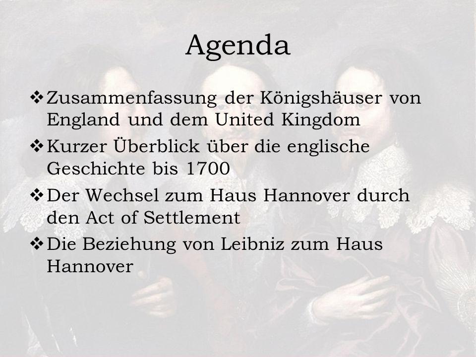 Agenda Zusammenfassung der Königshäuser von England und dem United Kingdom Kurzer Überblick über die englische Geschichte bis 1700 Der Wechsel zum Haus Hannover durch den Act of Settlement Die Beziehung von Leibniz zum Haus Hannover
