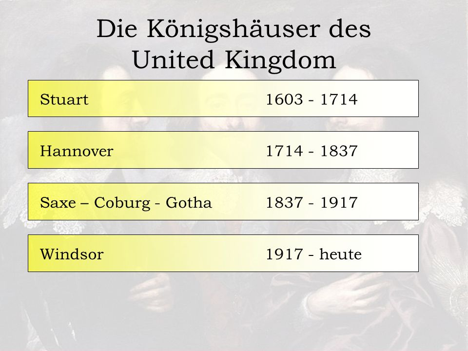 Die Königshäuser des United Kingdom 1603 - 1714Stuart1714 - 1837Hannover1837 - 1917Saxe – Coburg - Gotha1917 - heuteWindsor