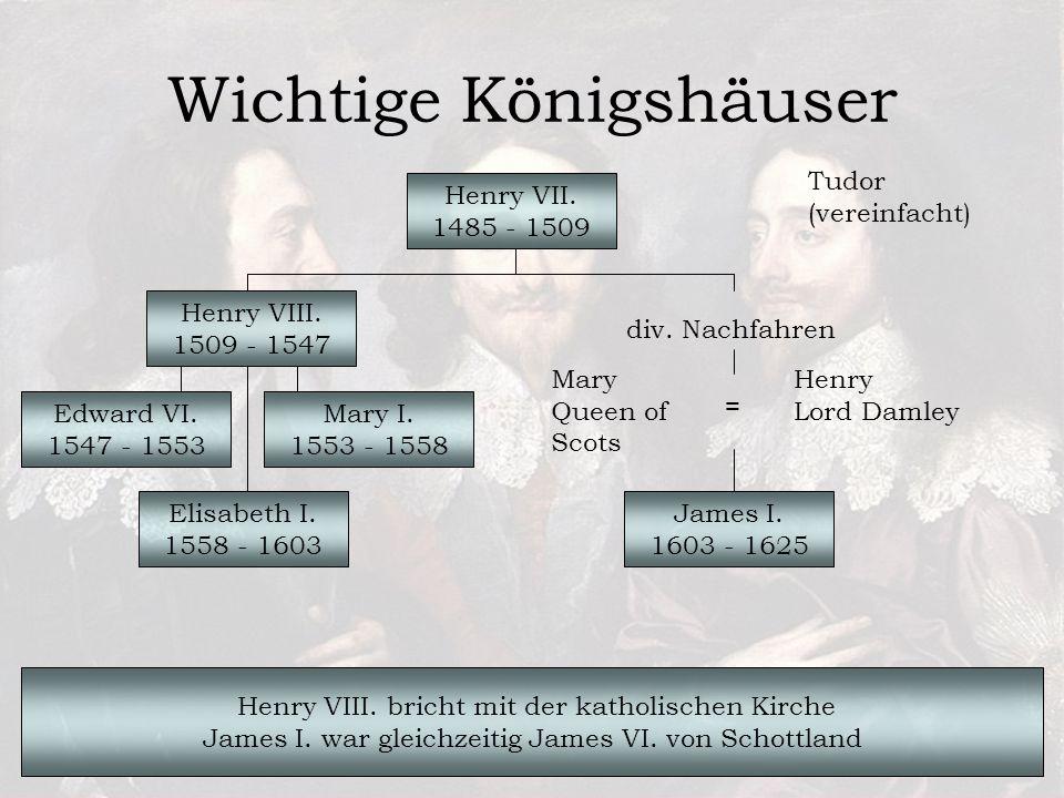 Wichtige Königshäuser Tudor (vereinfacht) Henry VII.