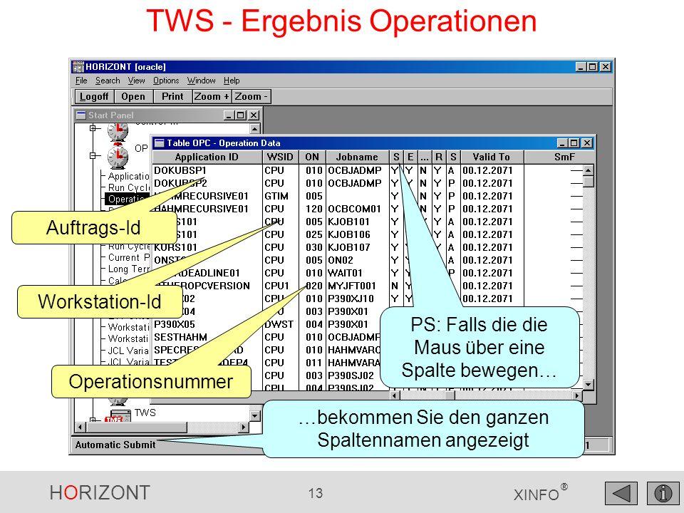 HORIZONT 13 XINFO ® Workstation-Id Operationsnummer TWS - Ergebnis Operationen PS: Falls die die Maus über eine Spalte bewegen… …bekommen Sie den ganzen Spaltennamen angezeigt Auftrags-Id