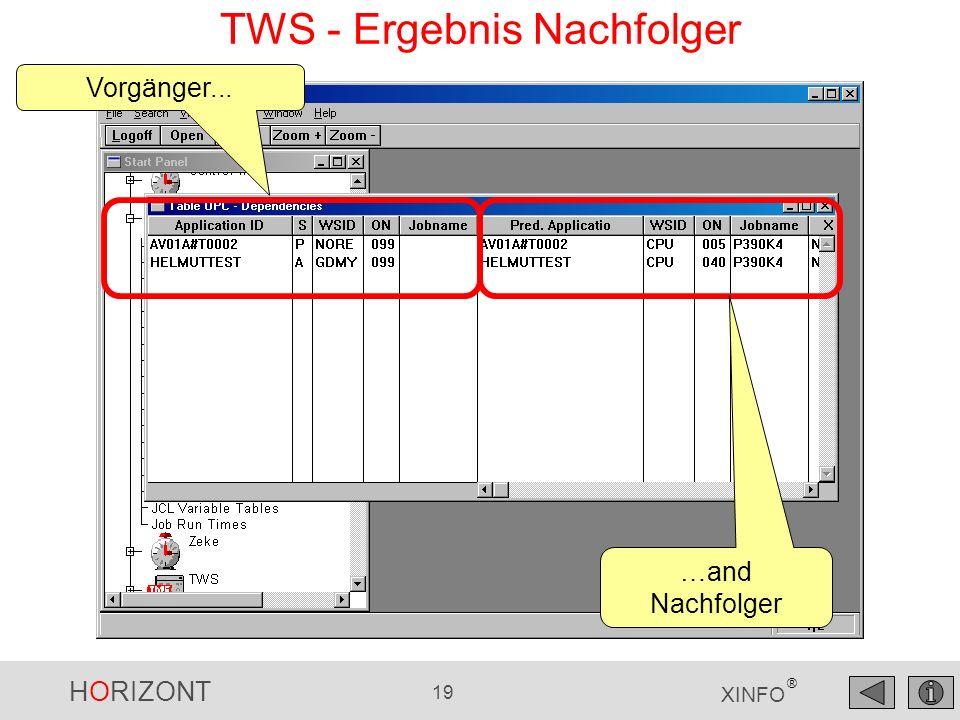 HORIZONT 19 XINFO ® TWS - Ergebnis Nachfolger Vorgänger... …and Nachfolger