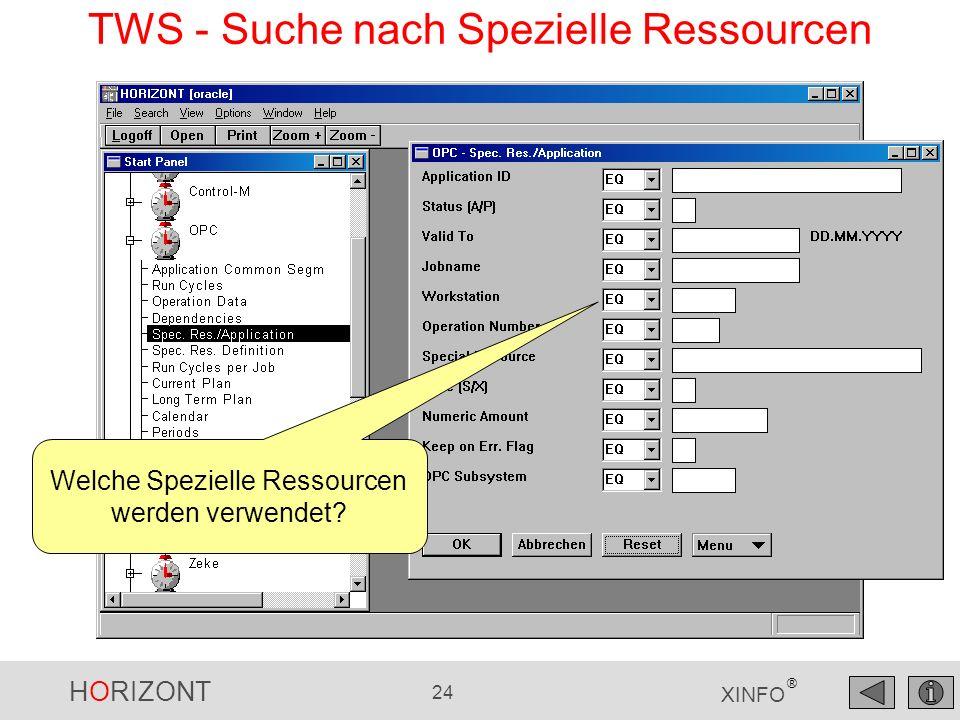 HORIZONT 24 XINFO ® TWS - Suche nach Spezielle Ressourcen Welche Spezielle Ressourcen werden verwendet?
