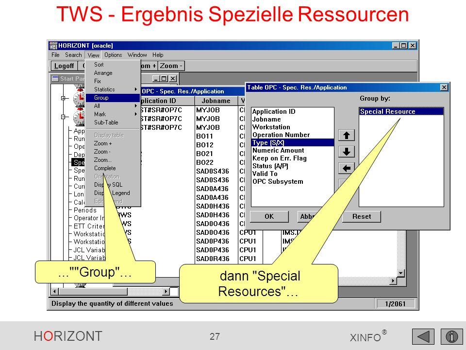 HORIZONT 27 XINFO ®... Group … TWS - Ergebnis Spezielle Ressourcen dann Special Resources …