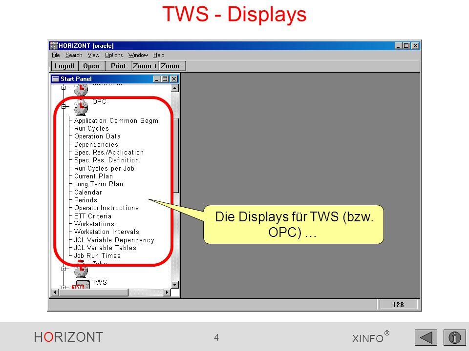 HORIZONT 55 XINFO ® Hinweis: Dieses Display muss zuerst einmal vom XINFO-Administrator angelegt werden.