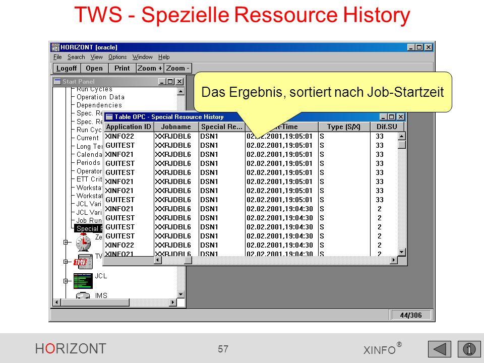 HORIZONT 57 XINFO ® Das Ergebnis, sortiert nach Job-Startzeit TWS - Spezielle Ressource History
