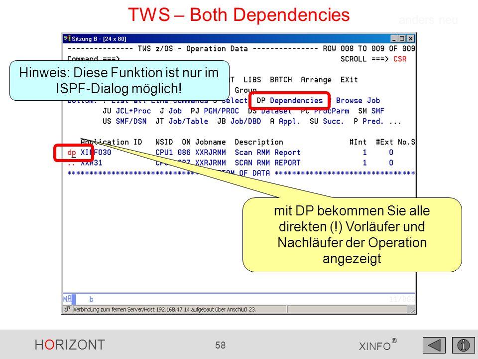 HORIZONT 58 XINFO ® TWS – Both Dependencies mit DP bekommen Sie alle direkten (!) Vorläufer und Nachläufer der Operation angezeigt anders neu Hinweis: Diese Funktion ist nur im ISPF-Dialog möglich!