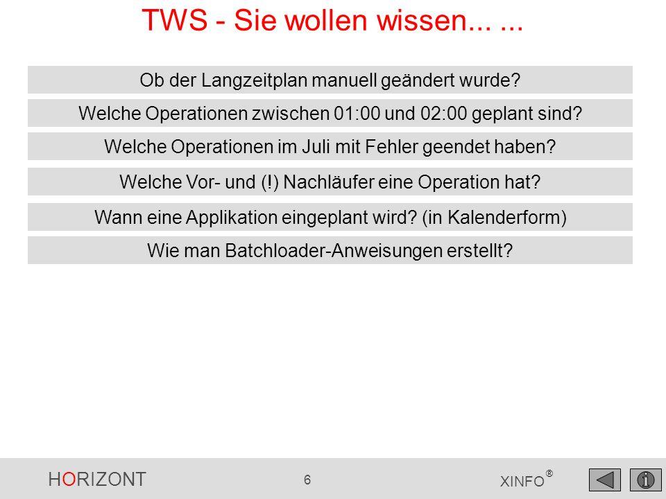 HORIZONT 6 XINFO ® TWS - Sie wollen wissen...... Wann eine Applikation eingeplant wird? (in Kalenderform) Welche Operationen im Juli mit Fehler geende
