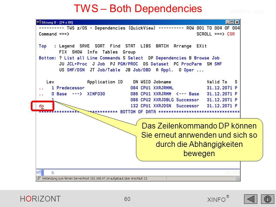 HORIZONT 60 XINFO ® TWS – Both Dependencies anders neu Das Zeilenkommando DP können Sie erneut anrwenden und sich so durch die Abhängigkeiten bewegen