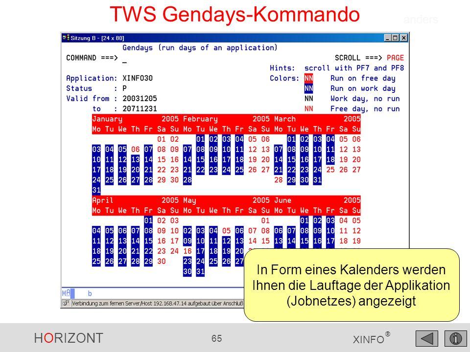 HORIZONT 65 XINFO ® TWS Gendays-Kommando In Form eines Kalenders werden Ihnen die Lauftage der Applikation (Jobnetzes) angezeigt anders